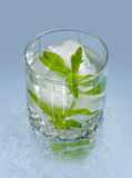 Glass with water ice and mint. On a blue background Stock Image