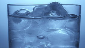 Glass with water and ice stock video