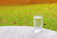 Glass of water ice on terrazzo floor table with nature background and copy space add text.  Stock Photography