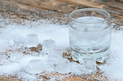 A glass of water with ice royalty free stock image