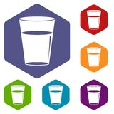 Glass water icons set hexagon Royalty Free Stock Images