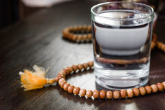 Glass of water for iftar opening on month ramadan royalty free stock photos