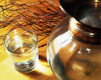 Glass of water and jug Stock Photo