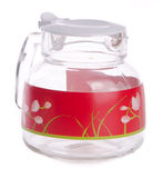 Glass water jug on the background. Stock Photos