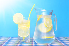 Glass of water with lemon Royalty Free Stock Image