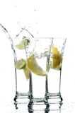 Glass with water and lemon Royalty Free Stock Photography