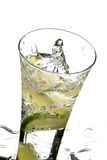 Glass with water and lemon. On the white background Stock Photo