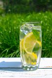 A glass of water with lemon and mint on the background of fresh summer green grass. Cooling drink. royalty free stock photos