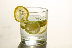 Glass of water with lemon slice Royalty Free Stock Image