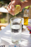 Glass of water with lime Royalty Free Stock Images