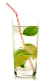 Glass of water with lime and mint on white Stock Images