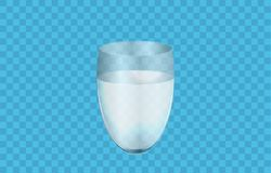 Glass of water or liquid isolated on light blue background, 3D realistic vector illustration. Shiny transparent glass cup Glossy. Transparent glass cup, liquid Stock Photos