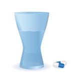 Glass with water and medical capsules. Vector illustration Stock Image