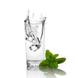 Glass of water and mint Stock Images