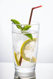 Glass of water with mint and lemon Royalty Free Stock Photo