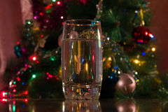 Glass of water for the new year Royalty Free Stock Photos