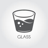 A glass of water or other abstract drink. Black and white icon in flat design. Cookery and bar concept. Vector logo Stock Photography
