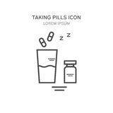 Glass of water and pills medical  illustration. Icons in a linear style. Stock Photo