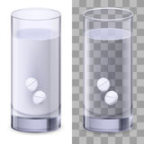 Glass of water and pills Royalty Free Stock Image