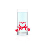 Glass of water with red ribbon vector illustration