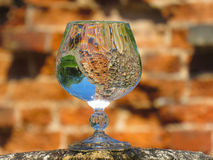A glass of water on the ruins. Of an ancient fortress Royalty Free Stock Photography