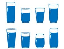 Glass of water set Royalty Free Stock Photography