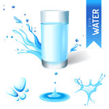 Glass of water. And water splash icons Stock Photo