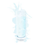 Glass of water with splashes. On white background Royalty Free Stock Photo