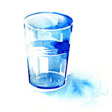 Glass of water. Watercolor painting on white background Royalty Free Stock Photography