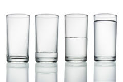 Glass of water  on white with Royalty Free Stock Image