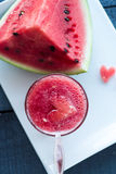 Glass of watermelon on a white plate, top view Royalty Free Stock Images