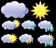 Glass weather icons stock illustration
