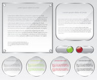 Glass web frame and buttons illustration Royalty Free Stock Photography