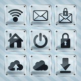 Glass web icons Royalty Free Stock Photos