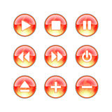 Glass website audio fire icons. Red audio buttons with flames Royalty Free Stock Photos
