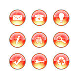 Glass website fire icons. Website buttons with fire flames Royalty Free Stock Image