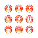 Glass website fire icons. Red buttons with people and flames royalty free stock photos