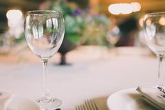 Glass on a wedding table. An empty glass on a wedding table Stock Images