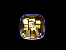 Glass of whiskey. And ice from above Stock Photo