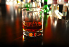 Glass Of Whiskey. On the Bar counter Closeup Stock Photography
