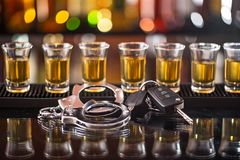 Glass of whiskey and car keys Stock Image