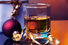 Christmas time and whiskey Stock Photography