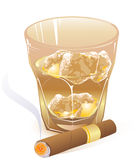 Glass of whiskey and  cigar Royalty Free Stock Photos
