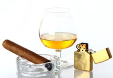 Glass of Whiskey and Cigar Stock Images