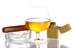 Glass of Whiskey and Cigar Stock Photos