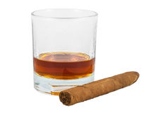 Glass of whiskey and cigar Royalty Free Stock Photo