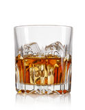 Glass of whiskey and ice. Isolated on white background Royalty Free Stock Photo
