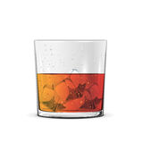 Glass of whiskey. With ice cube isolated on white background, illustration Stock Photos