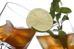 Glass of whiskey with ice cubes Royalty Free Stock Photo