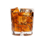 Glass of whiskey with ice isolated Royalty Free Stock Photo